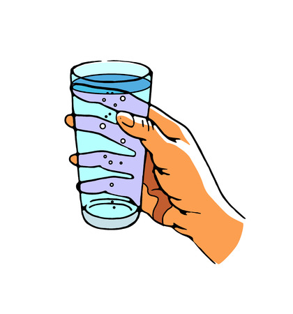 Human hand holding glass of pure water, drink, isolated, vector illustration on white background