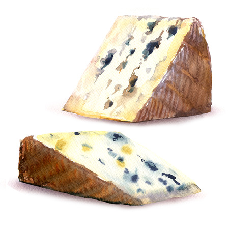 Set of two appetizer triangular pieces of mature blue cheese, object isolated, hand drawn watercolor illustration on white background