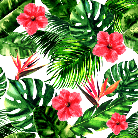 Tropical pattern, monstera leaf, palm leaves, bird of paradise, hibiscus flower, summer colorful seamless pattern wallpaper, summer print design, hand drawn watercolor illustration, white background Stock Photo