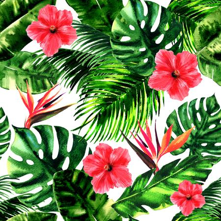 Tropisches Muster, Monsterablatt, Palmblätter, Paradiesvogel, Hibiskusblüte, Sommer bunte nahtlose Mustertapete, Sommerdruckdesign, handgezeichnete Aquarellillustration, weißer Hintergrund Standard-Bild