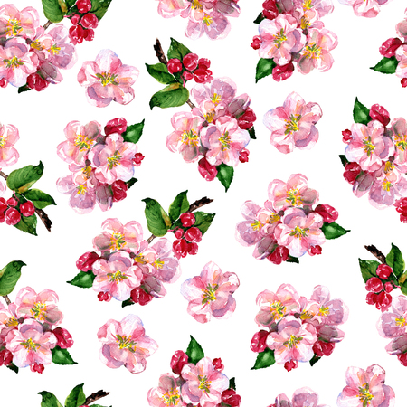 Floral seamless pattern with pink apple flowers branch, blooming flowers, elegance spring floral pattern, print design, hand drawn watercolor illustration on white background