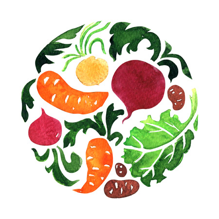 Set of vegetables in circle, carrot, beet, potato, salad leaf. Organic food, banner, logo, label design template, healthy vegetarian food concept, round shape icon. Hand drawn watercolor illustration