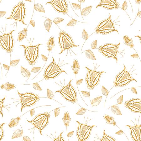 Elegance golden floral seamless pattern, hand drawn vector illustration for wallpaper, print design, background, flower theme, summer flowers collection, on white
