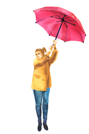 Young happy woman holding pink umbrella, full length portrait, autumn fall wind weather season, isolated, hand drawn watercolor illustration on white background Stock fotó