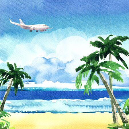 Beautiful paradise tropical island with ocean, sandy beach, palm trees, rocks, flying airplane on sky with clouds, summer time, vacation and travel concept, hand drawn watercolor illustration