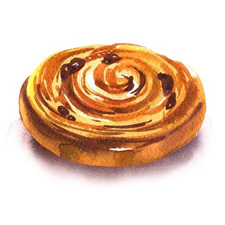 Petit pain sucré aux raisins secs, petit pain fait maison français fraîchement cuit, petits pains de pâte feuilletée, isolé, illustration aquarelle dessinée à la main sur fond blanc