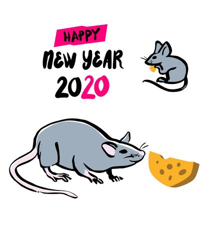 Gray rat with cheese, symbol of chinese happy new year 2020. Chinese Zodiac sign. Vector illustration, isolated on a white background