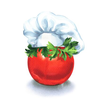 Tomato with chef hat and parsley, idea food, creative business concept. Restaurant character, chef symbol, isolated, hand drawn watercolor illustration on white background Imagens - 131904297