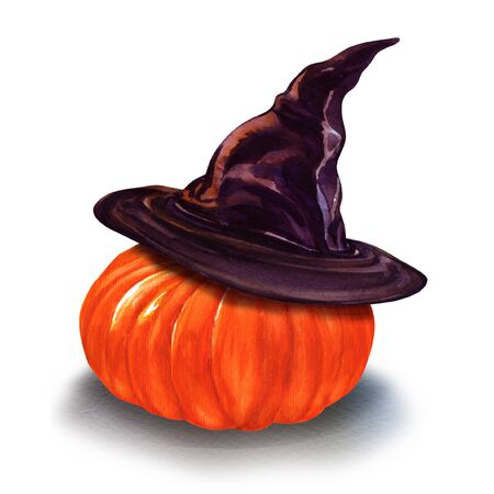 Halloween pumpkin in big witch hat isolated, hand drawn watercolor illustration on white background Imagens - 131904180