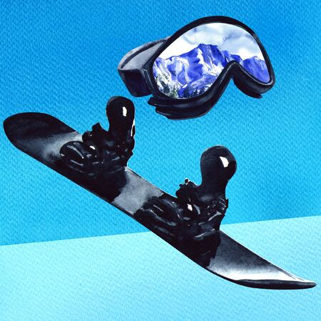 Ski sport glass with reflection of mountains and black snowboard, active equipment, isolated, hand drawn watercolor illustration on blue background Imagens - 131904339