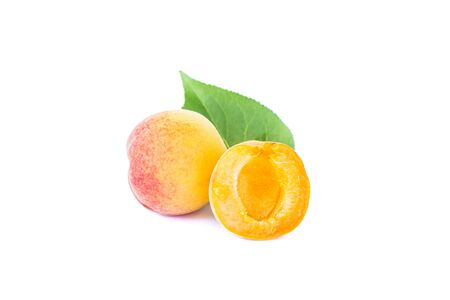 Fresh whole sweet apricot fruit with leaf and half, ripe fruits, isolated apricots, element for package design, on white background
