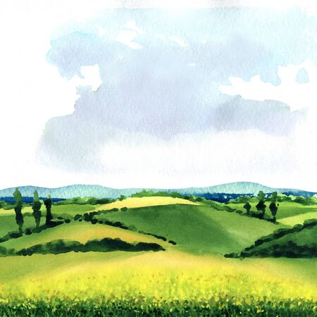 Field with green grass and blue sky, beautiful spring rural landscape with hills, outdoor, countryside, summer meadow, grass on a pasture, nature background, hand drawn watercolor illustration