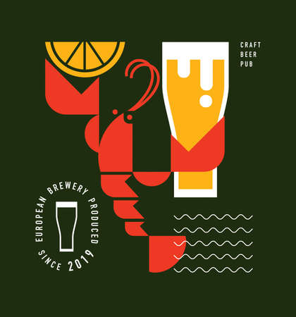 Red lobster or crawfish with glass of beer, craft beer brewery concept, menu pub design, icon, poster, logo template, graphic symbol, vector illustration on color background