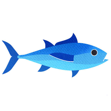 Bluefin tuna, tunny, whole fresh saltwater fish, Thunnus thynnus, seafood, close-up, graphic flat icon, package design element, isolated, hand drawn watercolor illustration on white background