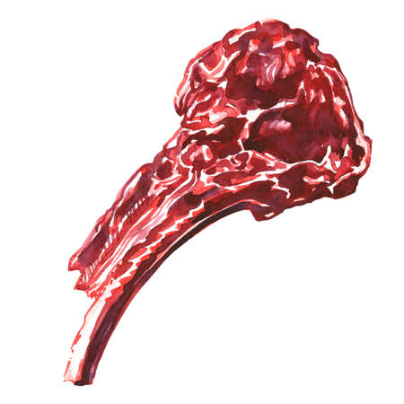 Raw tomahawk beef steak, uncooked meat ready to cook, close up, top view, isolated, hand drawn watercolor illustration on white background Stock fotó - 155445445