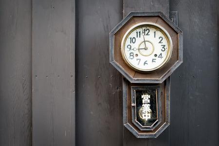 Vintage clock on wood wall, 9.00