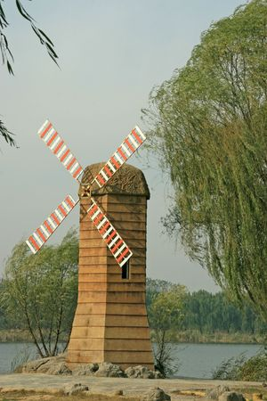 the humanities landscape: windmill Stock Photo
