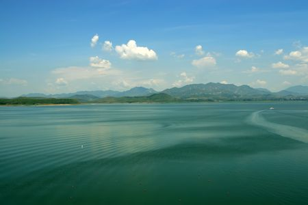 north china: reservoir natural scenery blue sky and white cloudy in north china Stock Photo