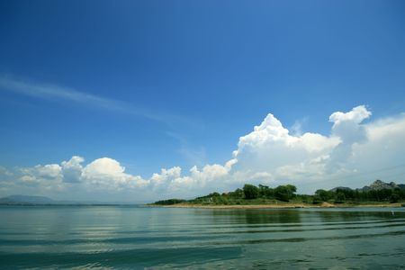 reservoir natural scenery blue sky and white cloudy in north china photo