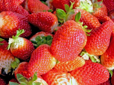 piles of fresh fruit strawberries     photo