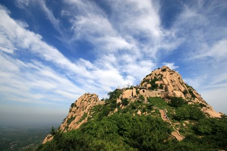 mountain landscape blue sky and white cloud in north china Stock Photo - 6111814