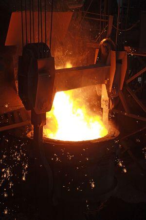 red-hot molten steel in a iron and steel enterprise production scene Standard-Bild