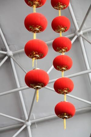 red lantern hanging in the steel skeleton Stock Photo - 7031346