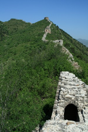 defense facilities: the original ecology of the great wall in north china Stock Photo