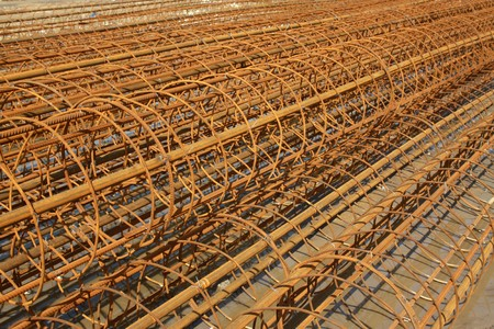 banding: steel bars construction materials stacked together Stock Photo