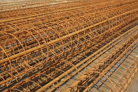 steel bars construction materials stacked together Banco de Imagens