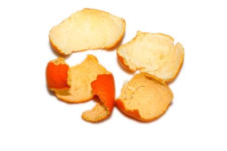 orange peel skin: orange skin, fruit peel in white background Stock Photo