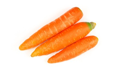 close up of pictures, three carrots on a white background. Stock Photo - 7132702