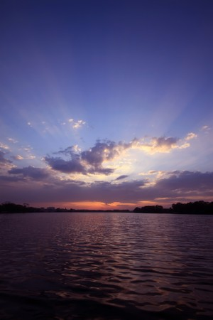 harmonious: sunset scenery by the riverside,  natural landscape outdoor, Tangshan City, Hebei Province, China.