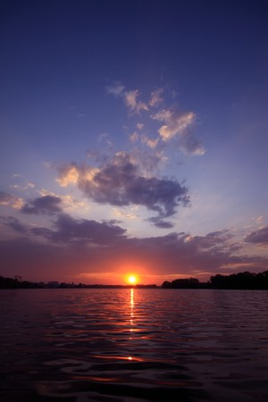 harmonious: sunset scenery by the riverside,  natural landscape outdoor, Tangshan City, Hebei Province, China. Stock Photo