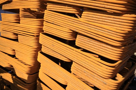 banding: steel bars construction materials stacked together, in a construction site, Luannan County, Hebei Province, China.