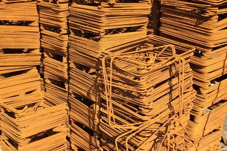 steel bars construction materials stacked together, in a construction site, Luannan County, Hebei Province, China. Stock Photo - 7240473