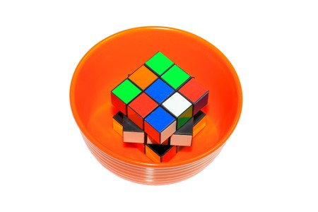 species plate: colorful cube on a white background, a very well-known puzzle game toys.