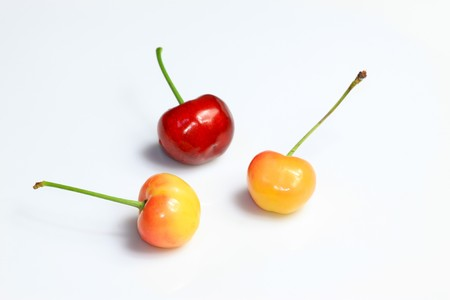 looked: cherry on a white background, Very delicious natural foods, people looked very greedy..