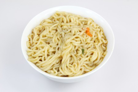 noodles in the white background photo