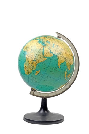 globe on a white background, close up of pictures.