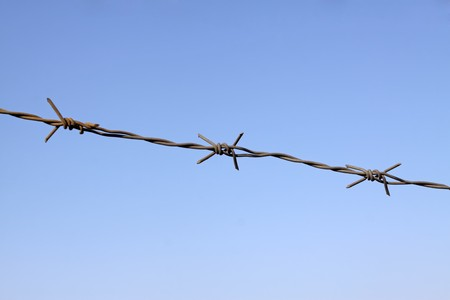 barbed wire under the blue sky, Hebei, China. photo
