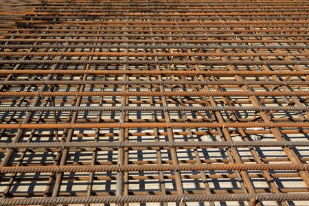 steel bars construction materials, in a construction site, North China. photo