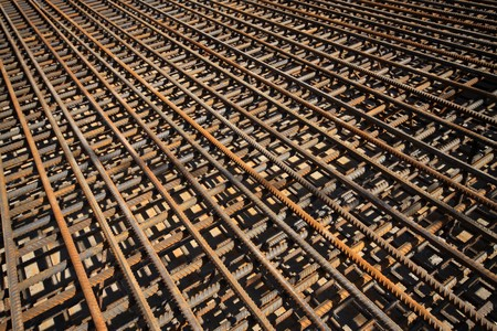 steel bars construction materials, in a construction site, North China. Stock Photo - 7400743