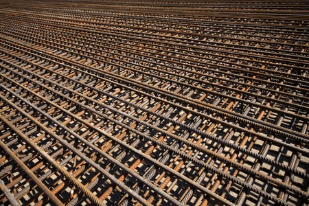 rebar: steel bars construction materials, in a construction site, North China.