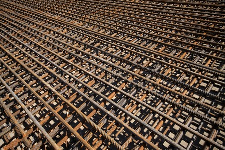 steel bars construction materials, in a construction site, North China. Stock Photo - 7400763
