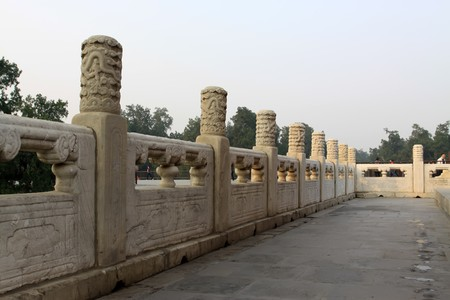 white marble: white marble embossed railings of temple of heaven in beijing,china. Stock Photo