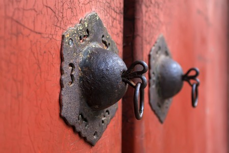 keys to heaven: doornail and door knockers in the temple of heaven in beijing Stock Photo