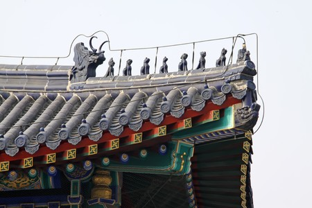 the roof in temple of heaven in beijing,china.