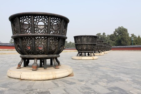 burning stove, it is an iron stove for burning the offerings, in the temple of heaven.  photo