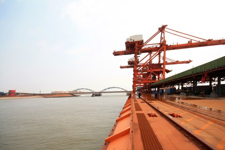 Caofeidian Ore Terminal in North China, 2009. Banco de Imagens
